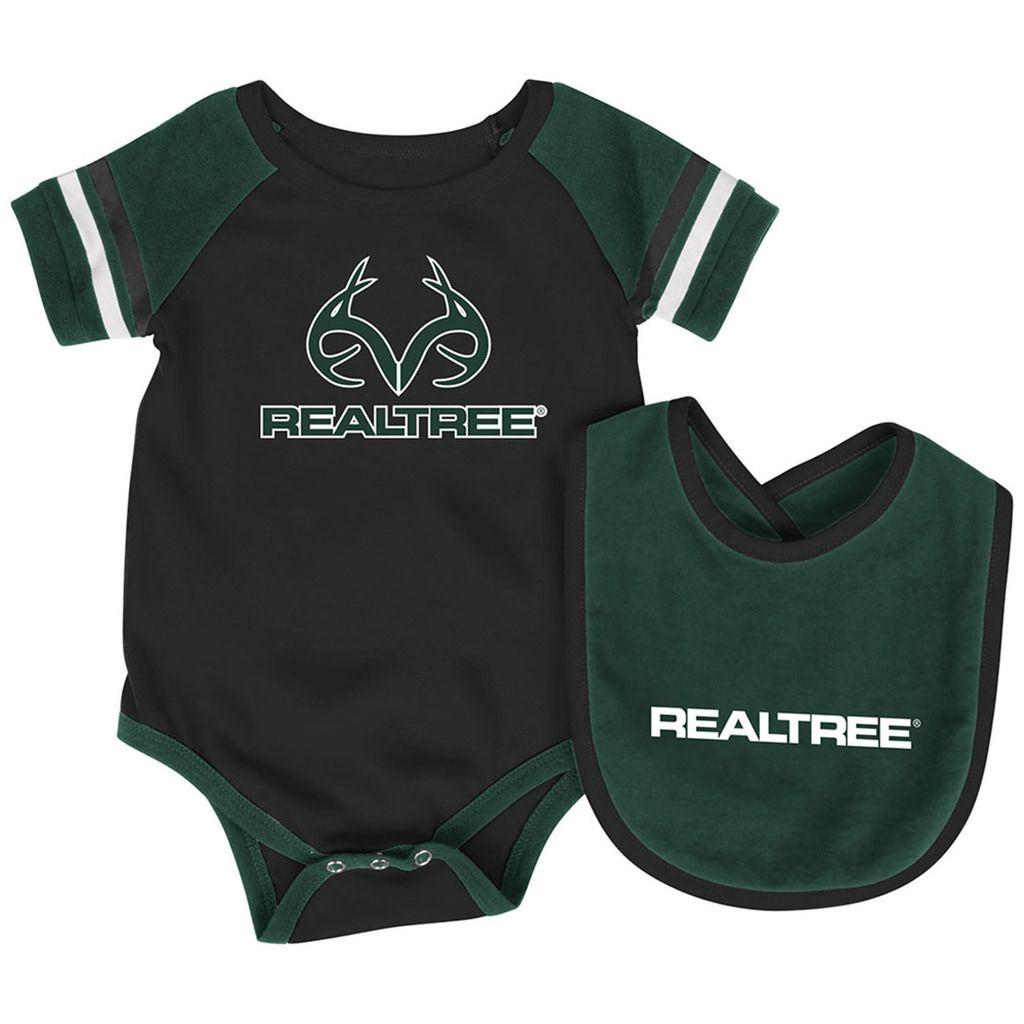 1dc2e4c0 Realtree Logo Black Infant Onesie and Bib | Camo Babies & Kids ...