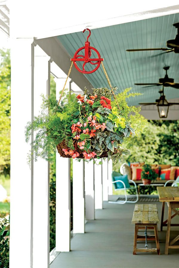 Hanging Container Gardens   Pulley, Garden ideas and Garden basket