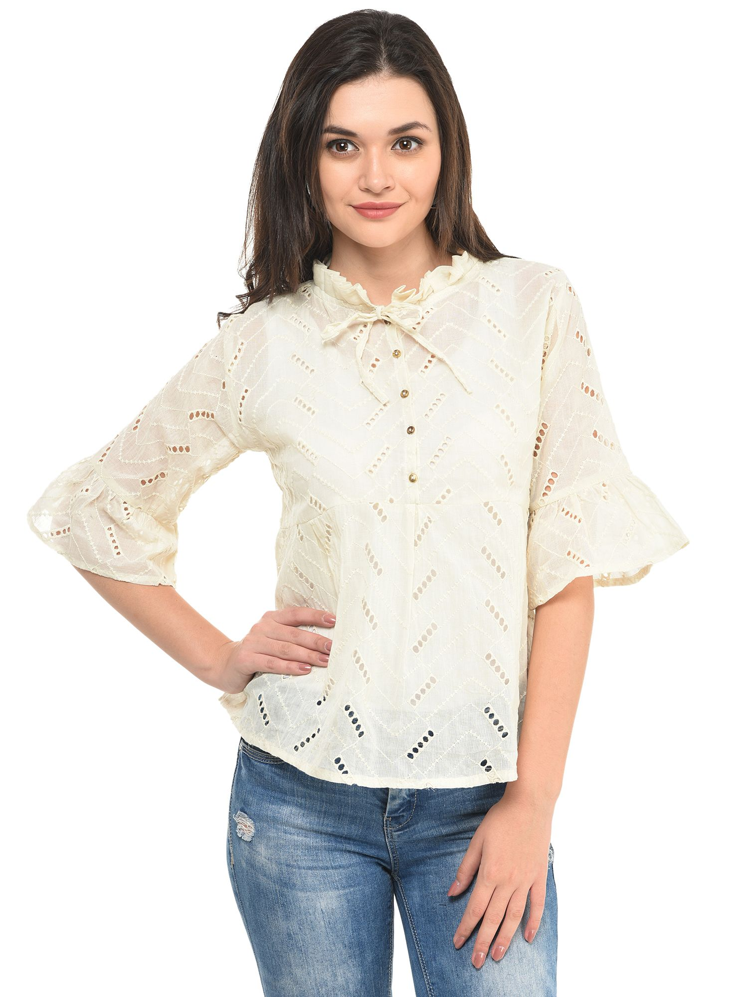 White Chicken Work Peplum Top  9df590dba5ec