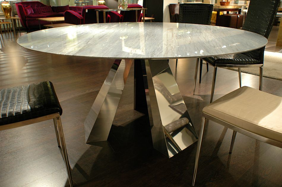 Hot Item Luxury Round Stainless Steel Marble Top Dining Table