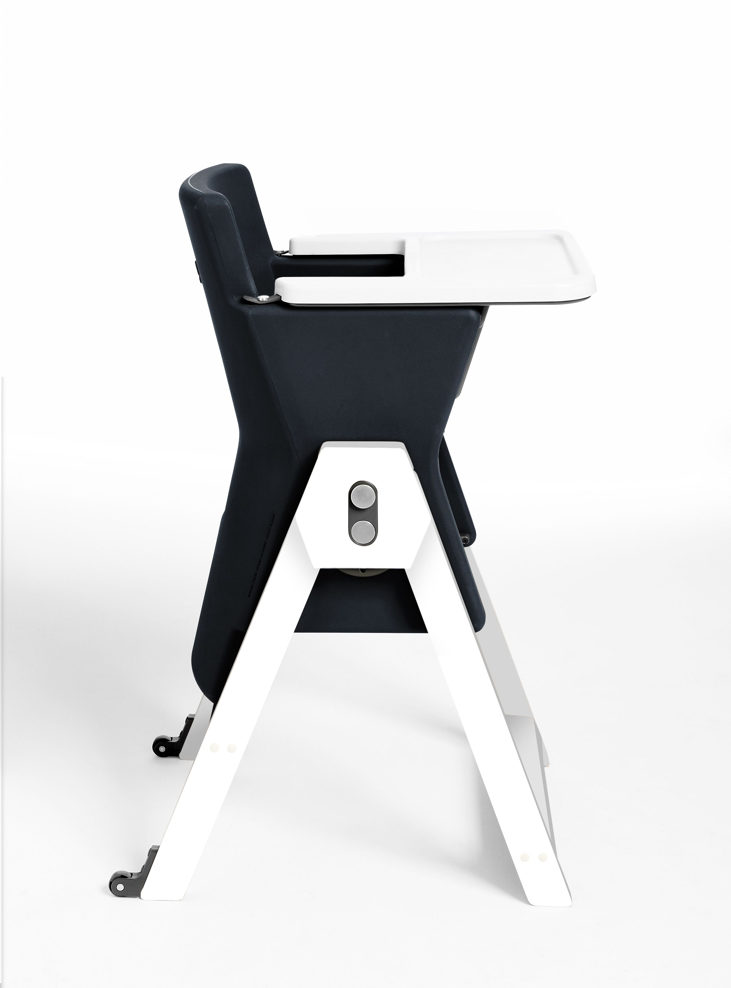 Modern high chair which offers a high seat for baby & simply spin