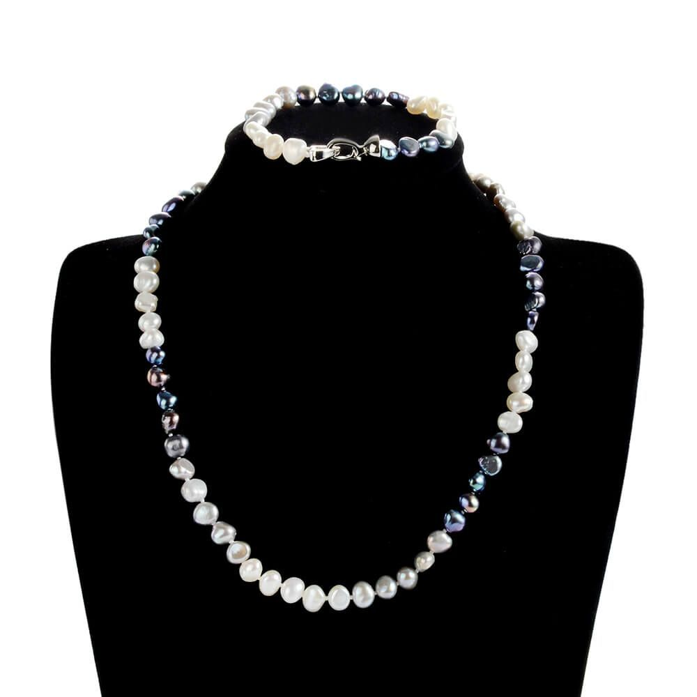 Multi-Color Freshwater Nugget Pearl Necklace and Bracelet Jewelry Set #pearljewelry