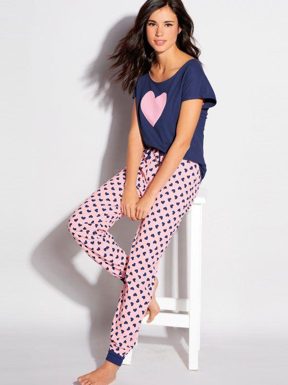 110d80176 Pijama manga corta mujer con corazones de algodón