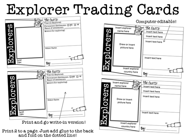 Ginger Snaps Explorers Trading Cards 3rd Grade Social Studies 4th Grade Social Studies Social Studies Activities