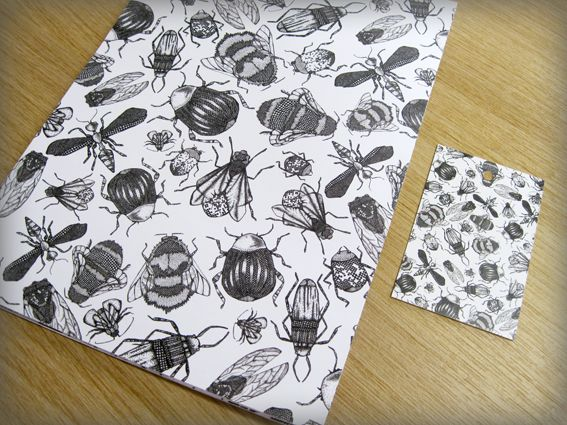 Busy bee wrapping paper and matching swing tags