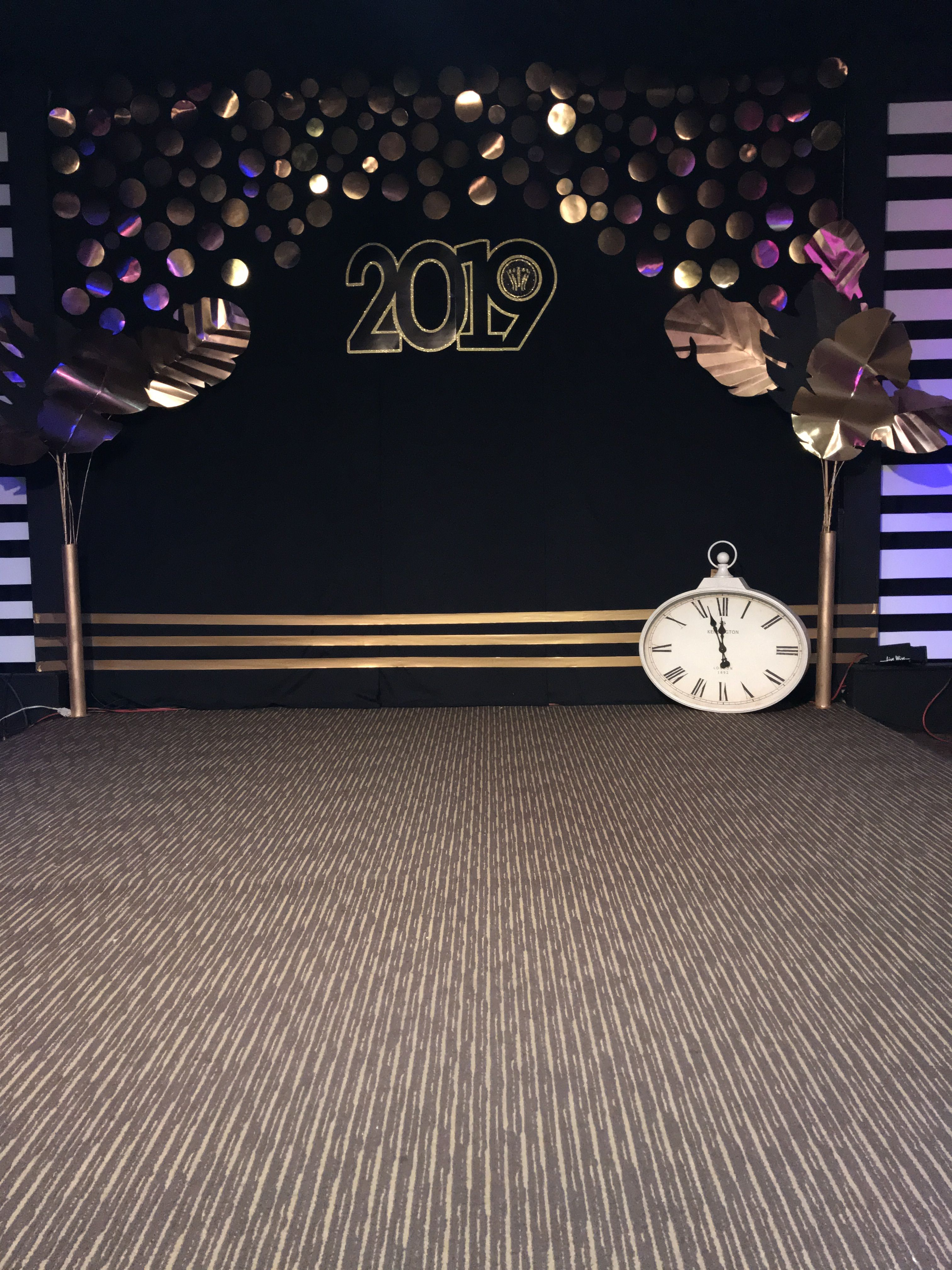 New Years stage decoration  Stage decorations, Dining room table