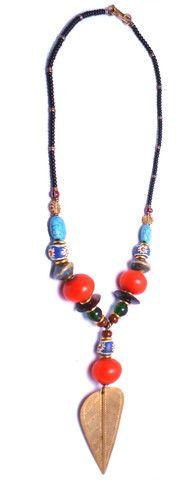 Multi-Bead Amber Brass Necklace – Zuri Africa
