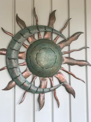 Handcrafted Blue And Copper Colored Recycled Metal Moon And Sun Wall Art Wind And Weather Exterior Wall Art Recycled Metal Art Metal Sun Wall Art