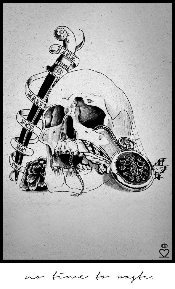 skull dagger clock tattoo