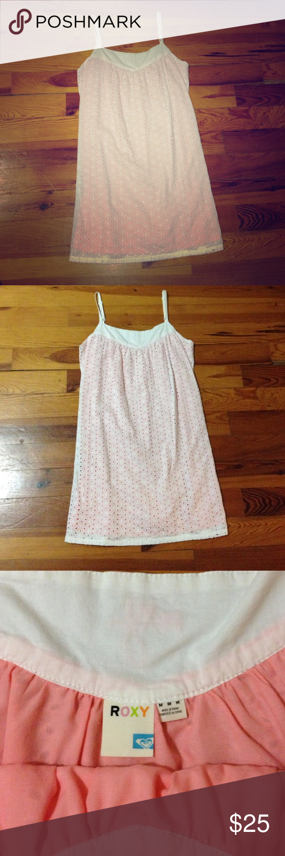 "Roxy Eyelet Dress White with Pink Underlay; Medium Roxy Eyelet Dress; Size Medium. White Eyelet over Pink Underlay. Adjustable Straps. Says ""Roxy"" at the top back of the dress. Super cute! Roxy Dresses"