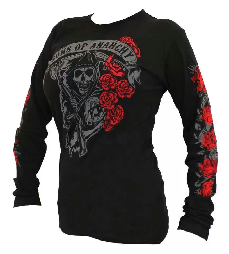 Pin by Charlene Balistreire on Clothes | Sons of anarchy. Sons of anarchy motorcycles. Long sleeve shirts