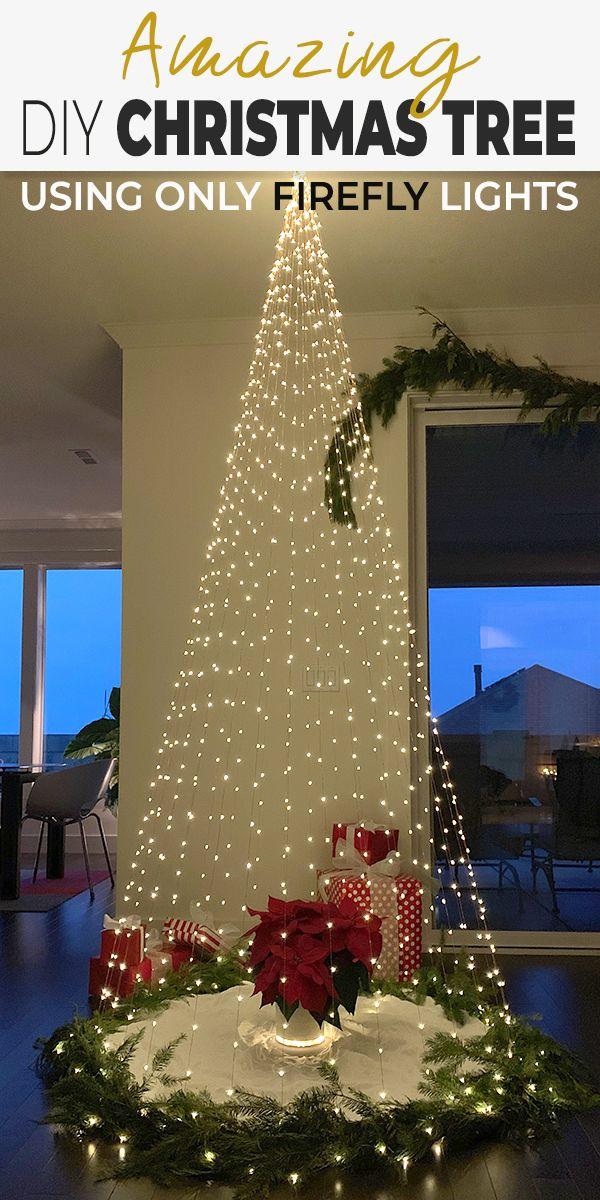 Diy Christmas Tree Made Using Only Firefly Lights Ohmeohmy Blog Diy Christmas Lights Easy Christmas Diy Amazing Christmas Trees
