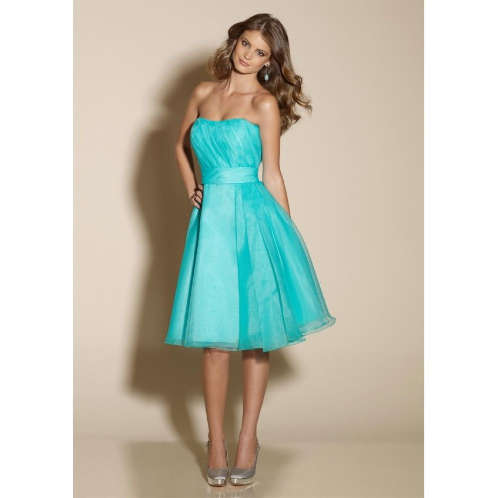 Bridesmaid dresses turquoise line strapless sashes knee for Turquoise bridesmaid dresses for beach wedding