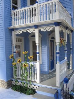 Dollhouses by Robin Carey: The Glenview Drive Blue Victorian Dollhouse