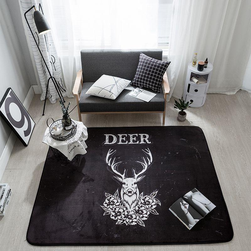 Black Christmas Deer Printed Fleece Blankets For Kitchen Anti-slip