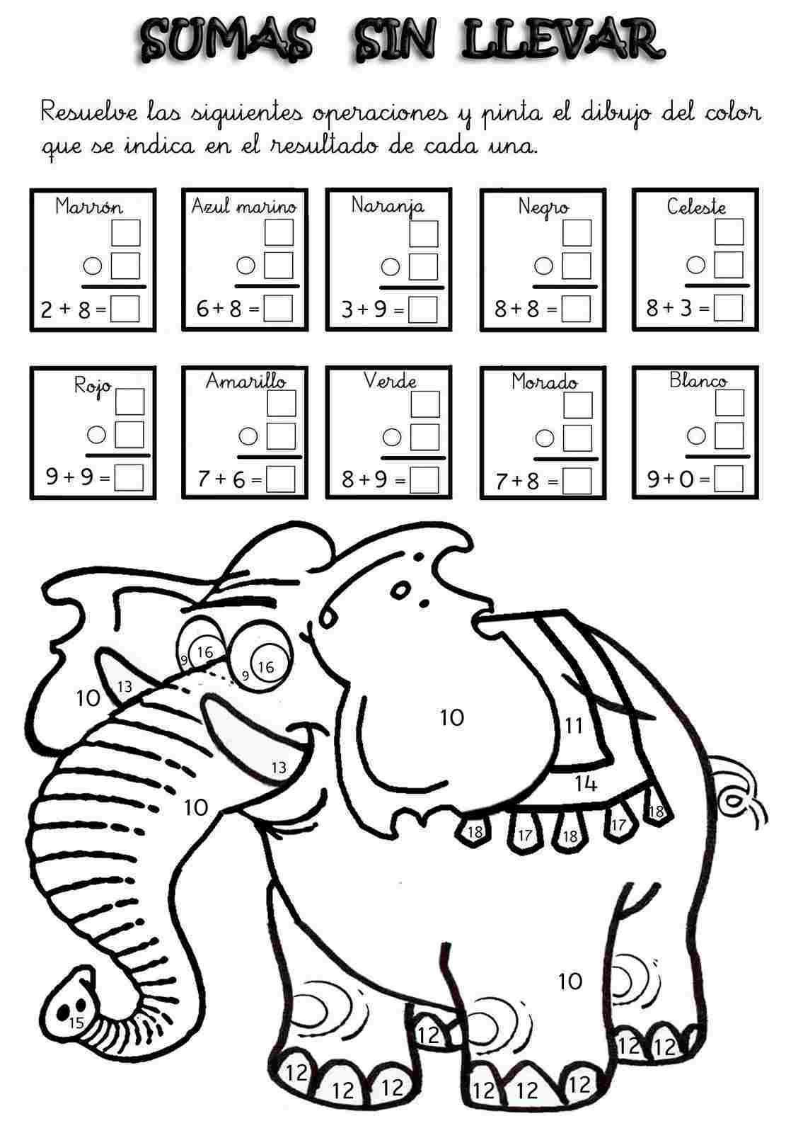 Actividades Para Ninos Preescolar Primaria E Inicial Fichas Con Sumas Divertidas Para Imprimir