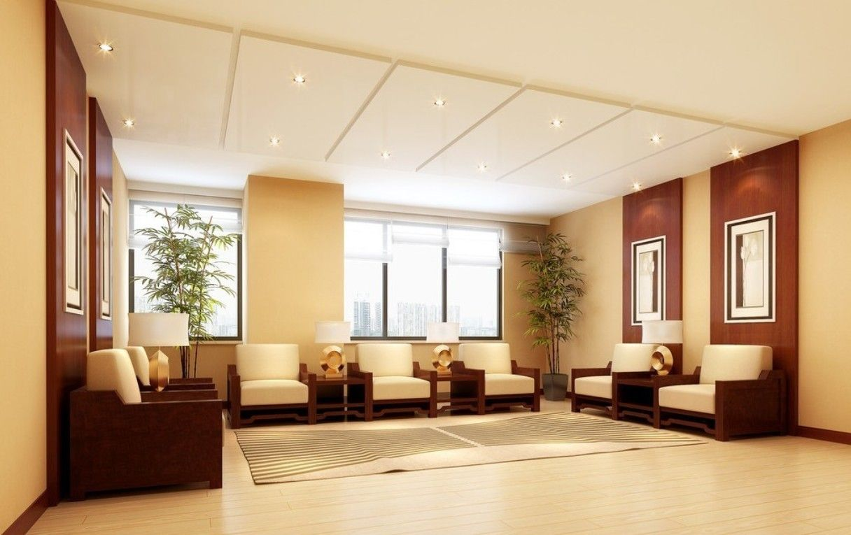 Company design hall reception rendering design hall for Hall decoration images