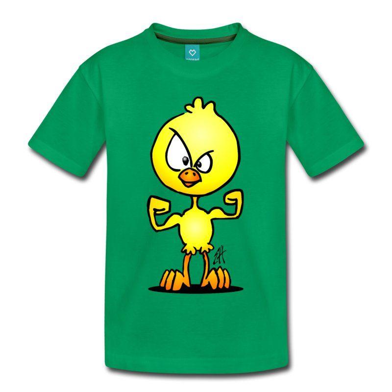 Power kuiken kinder T-shirt. #kuiken #Pasen #Paaskuiken #kindermode #kidsfashion #shopping  #Spreadshirt #Tekenaartje Onderschat nooit de kracht van een schattig klein geel kuikentje.