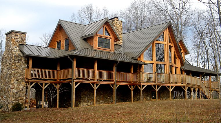 Jim Barna Log And Timber Homes International Offers Large Variety Of Log Profiles And Sizes Custom Ranch House Plans Log Homes Exterior Farmhouse Style House