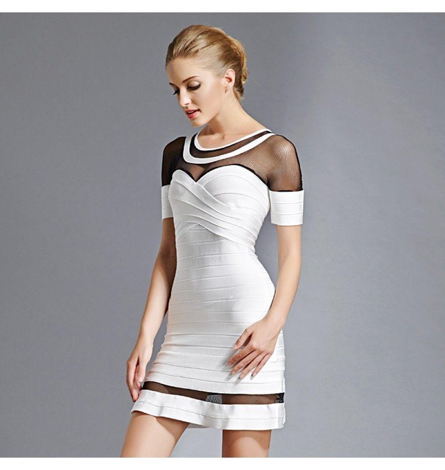 Luxus Abendkleid Transparent Weiß & Schwarz