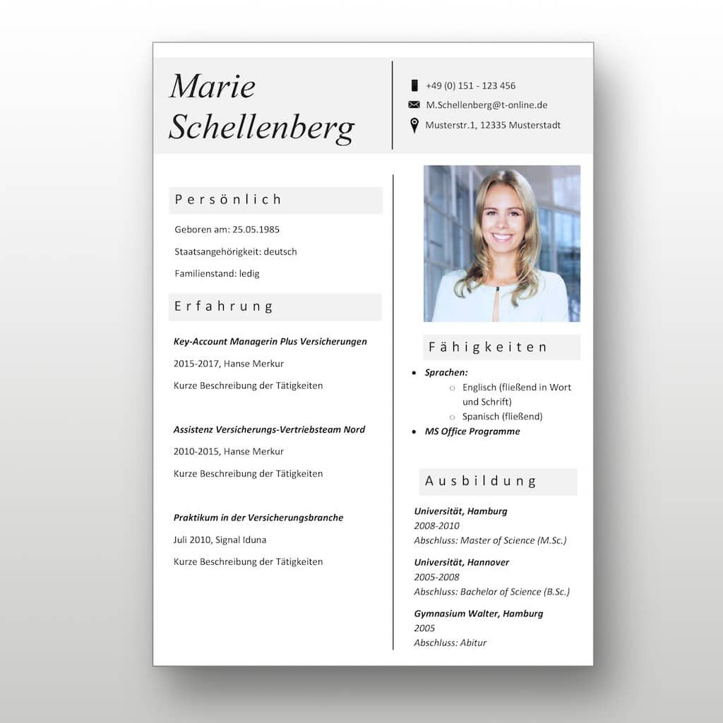 """CV Lebenslaufvorlage als Download: Die """"Success of Grey ..."""