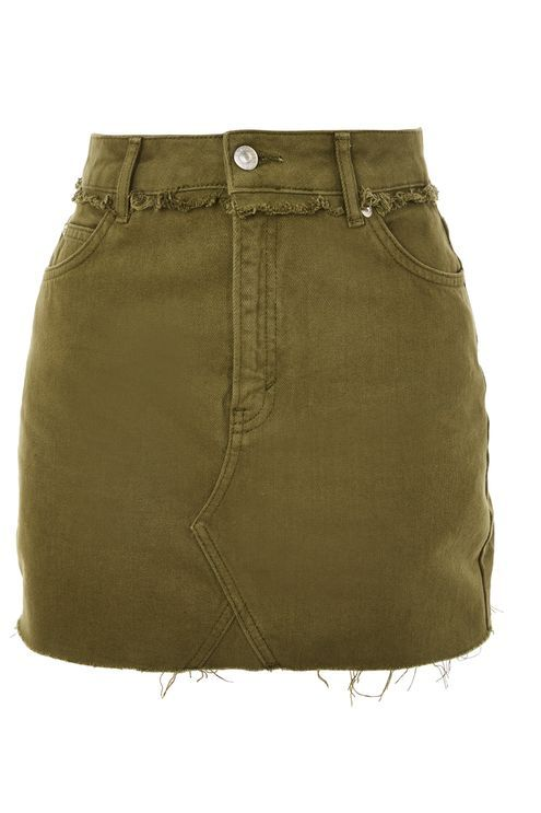 c3bec6cf74 This stylish khaki denim mini skirt is a new-season must-have. Featuring  frayed hem detailing, button and zip fastening and belt loops, we're  teaming it ...