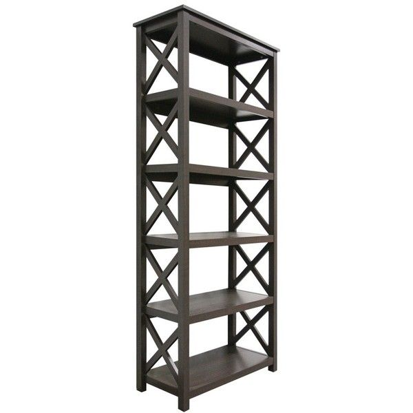 Bookcase: Threshold  5-Shelf Bookcase - Espresso ($110) ❤ liked on Polyvore featuring home, furniture, storage & shelves, bookcases, brown shelf, brown bookcase, 5 shelf bookshelf, book shelving and book-case