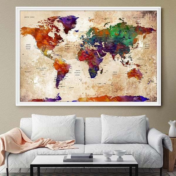 Watercolor large map world push pin travel wall texture extra large watercolor large map world push pin travel wall texture extra large world map travel map push gumiabroncs Image collections