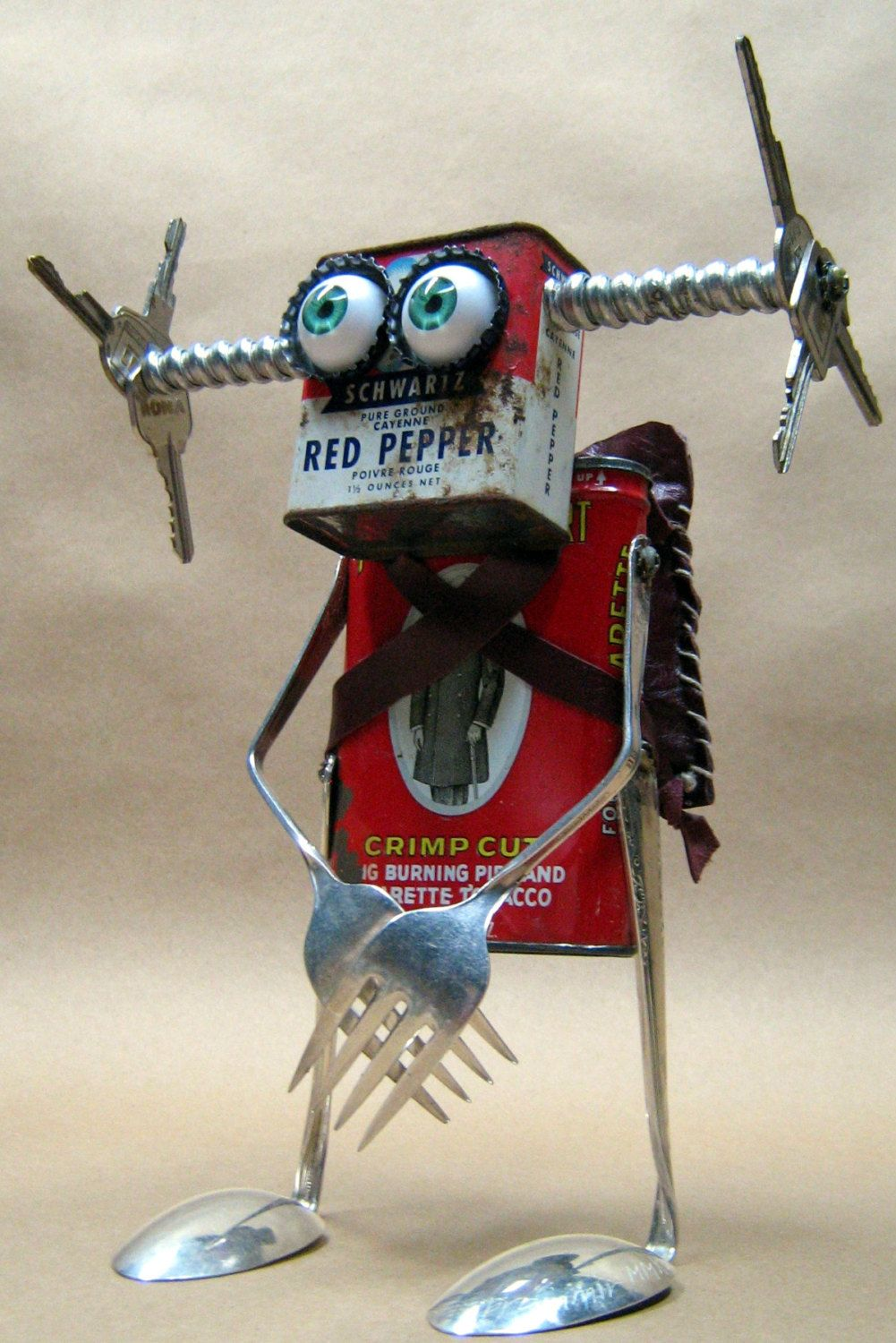 Cole junk bot recycled materials handmade Unique scrap art found object office decor upcycled repurposed,robot art sculpture