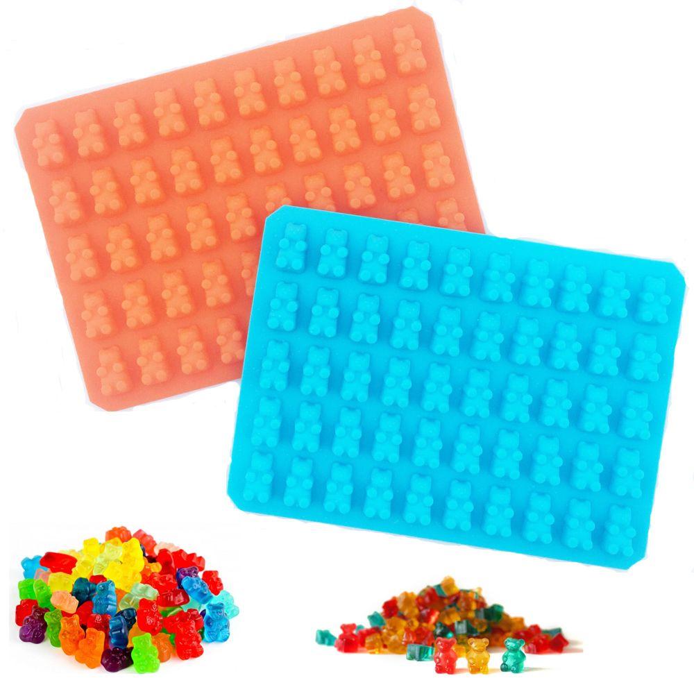 50 Hohlraum Silikon Gummibärchen Schokoladenform Candy Eiswürfelschale Jelly Formen