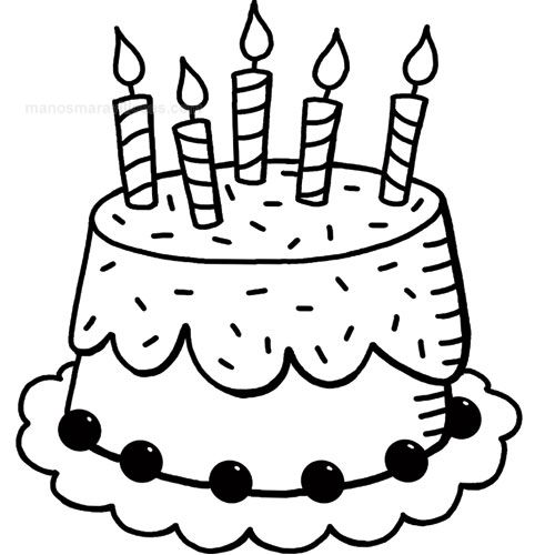 Manos Maravillosas Sello tarta cumpleaños | Imprimibles Blanco-Negro ...