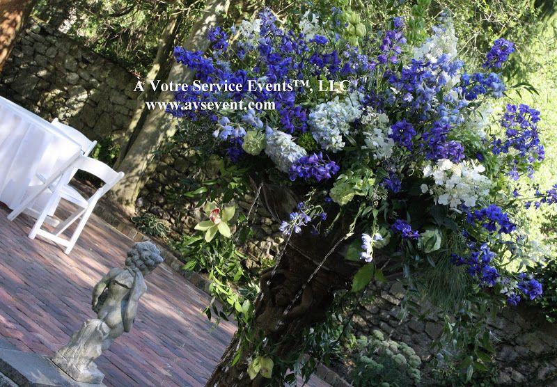 Romantic blue and white flower centerpiece.