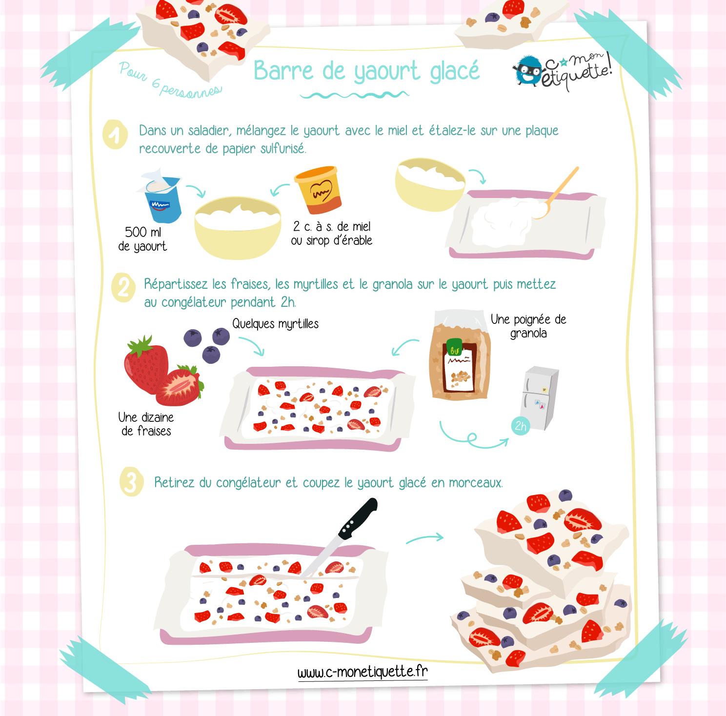 Recette facile barre yaourt glacé I Recette C-MonEtiquette
