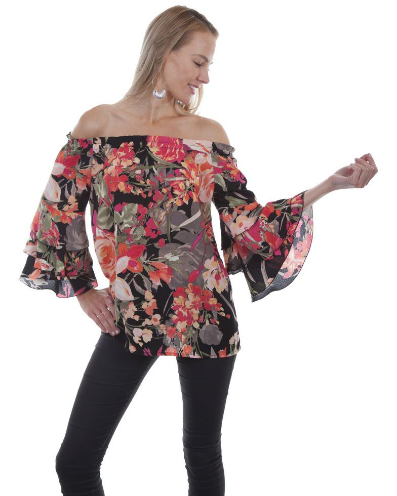 12d29c9e6ff Honey Creek by Scully Women s Black Floral Peasant Blouse in 2019 ...