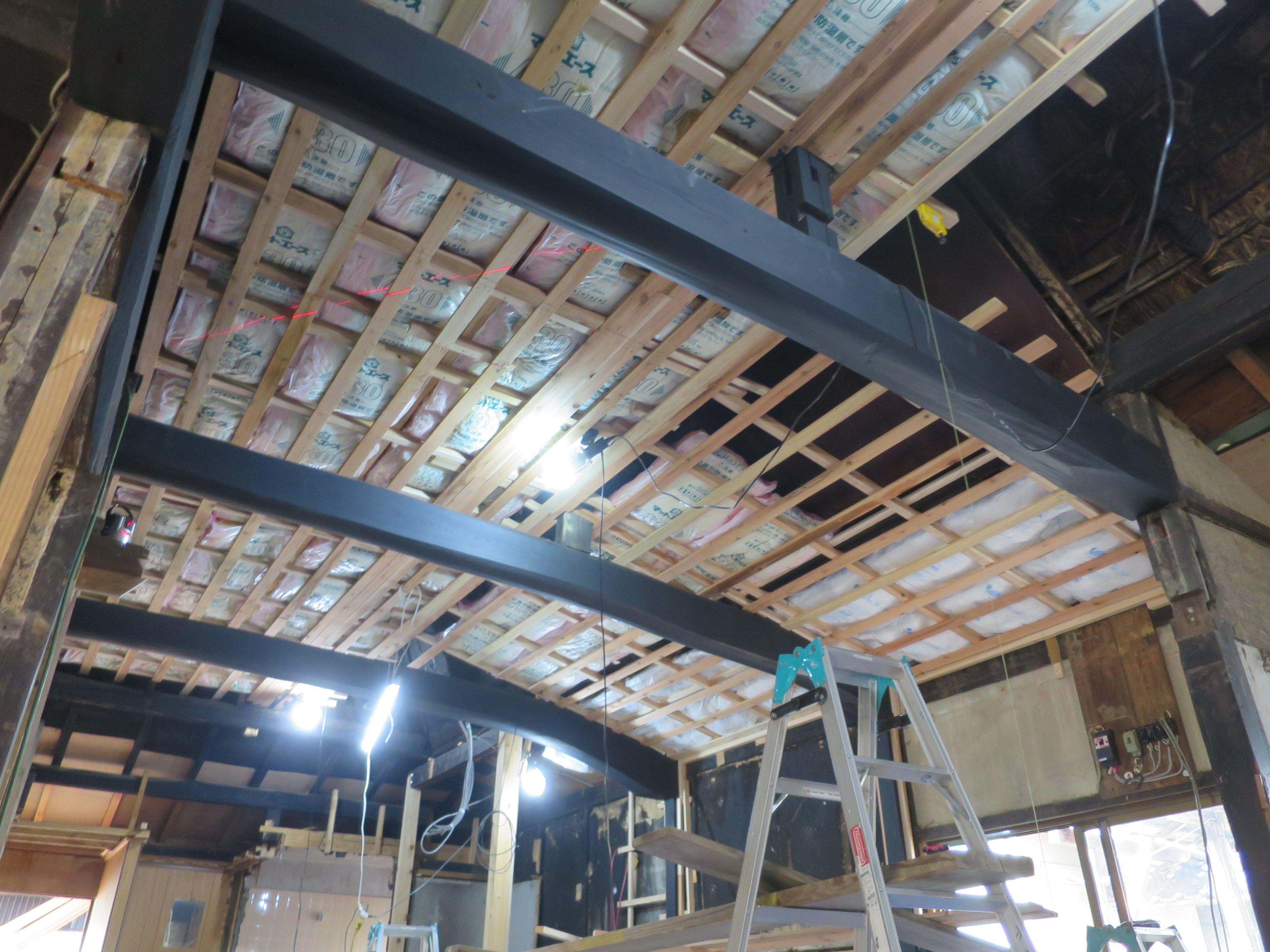 天井 斜め部分の下地材取り付け 90 完成 リフォーム 古民家 古
