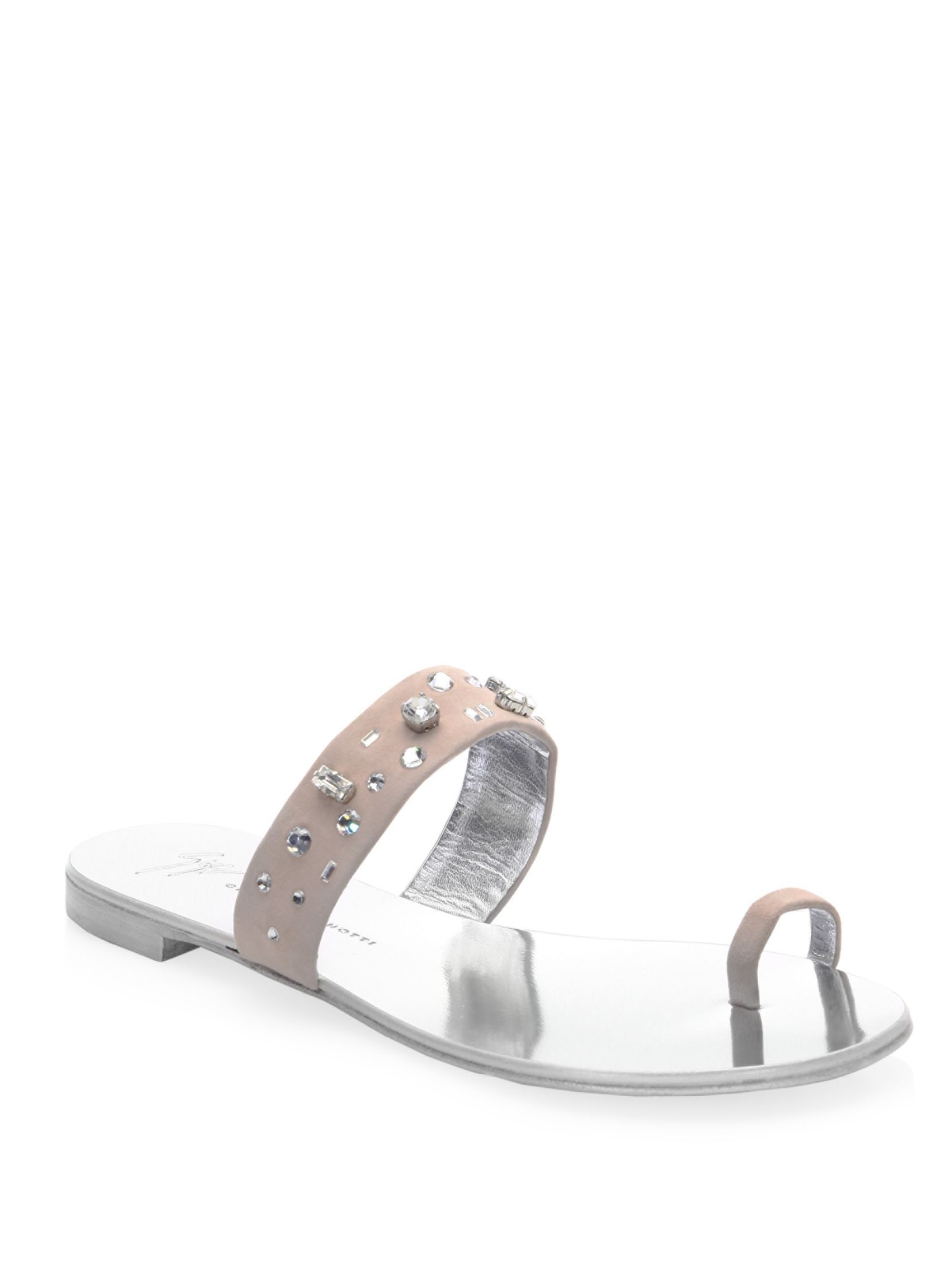 Nuvorock Crystal-embellished Suede And Satin Sandals - Silver Giuseppe Zanotti