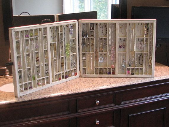 Vintage Jewelry Display Table Top Folding Model From Printers Drawers