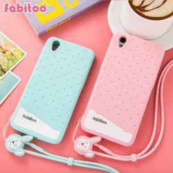 new style 23b25 b9805 Silicone Case OPPO A37 Fabitoo Polkadots Ice Cream + Bunny Lanyard ...