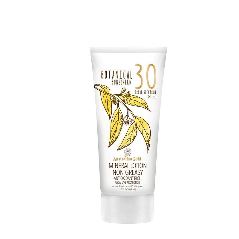 The Australian Gold® Botanical SPF 30 Mineral Lotion is more than just powerful sun protection – it's gentle care for your skin. This non-chemical sunscreen lotion delivers non-whitening protection with a refreshingly luxurious, powdery-clean feel. Rich in vitamins and antioxidants from native Australian botanical ingredients, it allows you to enjoy the sun your way, protected from both UVA and UVB rays, and water resistant for up to 80 minutes.