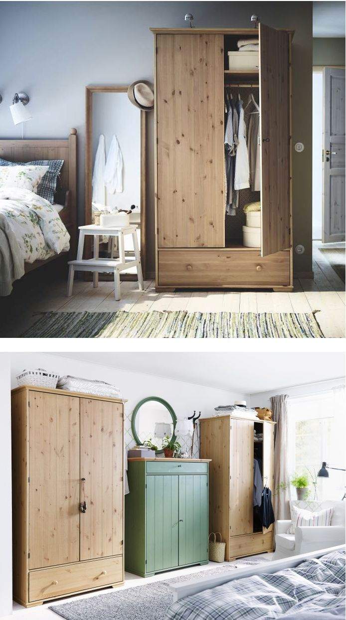 the solid pine of the hurdal wardrobe shows off the attractive grains and beauty mark knots. Black Bedroom Furniture Sets. Home Design Ideas