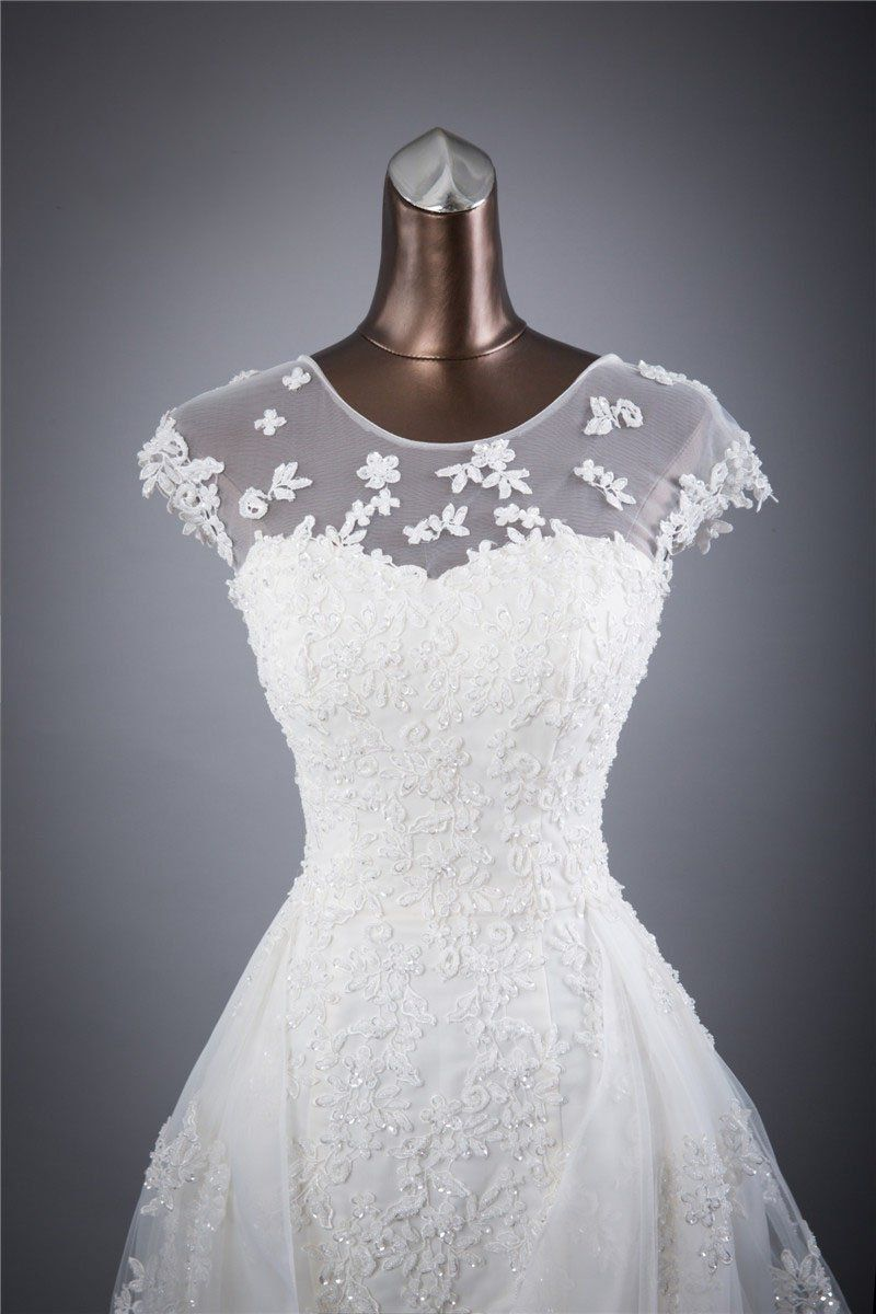 Cap sleeves charming affordable lace up back long wedding dresses