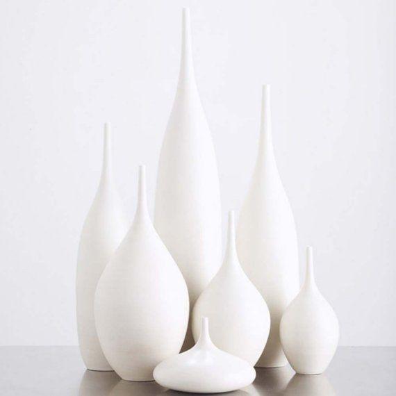 7 modern ceramic pottery bottle vases in organic pure white by sara paloma. home decor white pottery and ceramics bud vase tabletop bud vase