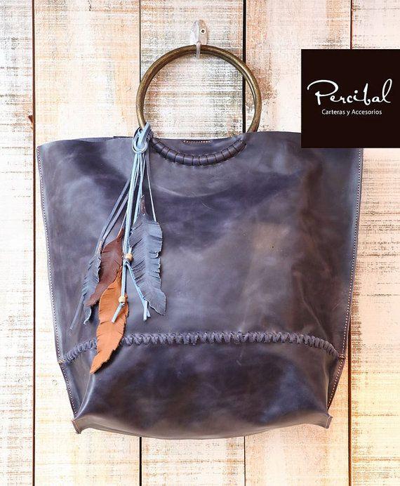 f11ac2fae63b Blue Leather Bag Handbag Oversized Bag Blue leather by Percibal ...