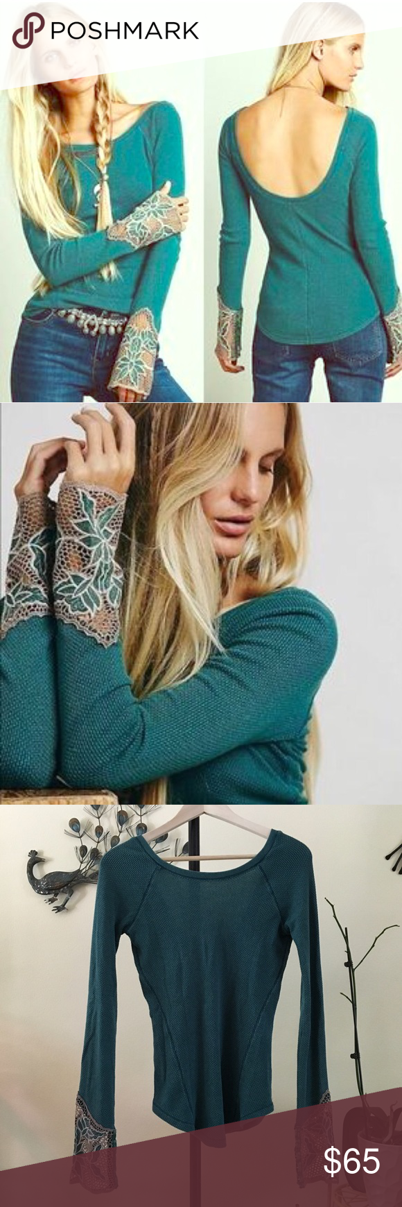 Bali babe Free People thermal Get your cozy on with this sexy teal colored thermal by Free People! With a rounded neckline, low scoop back, intricate lace detailed cuffs, and curved hem, this style thermal is so romantic and feminine! EUC. Free People Tops