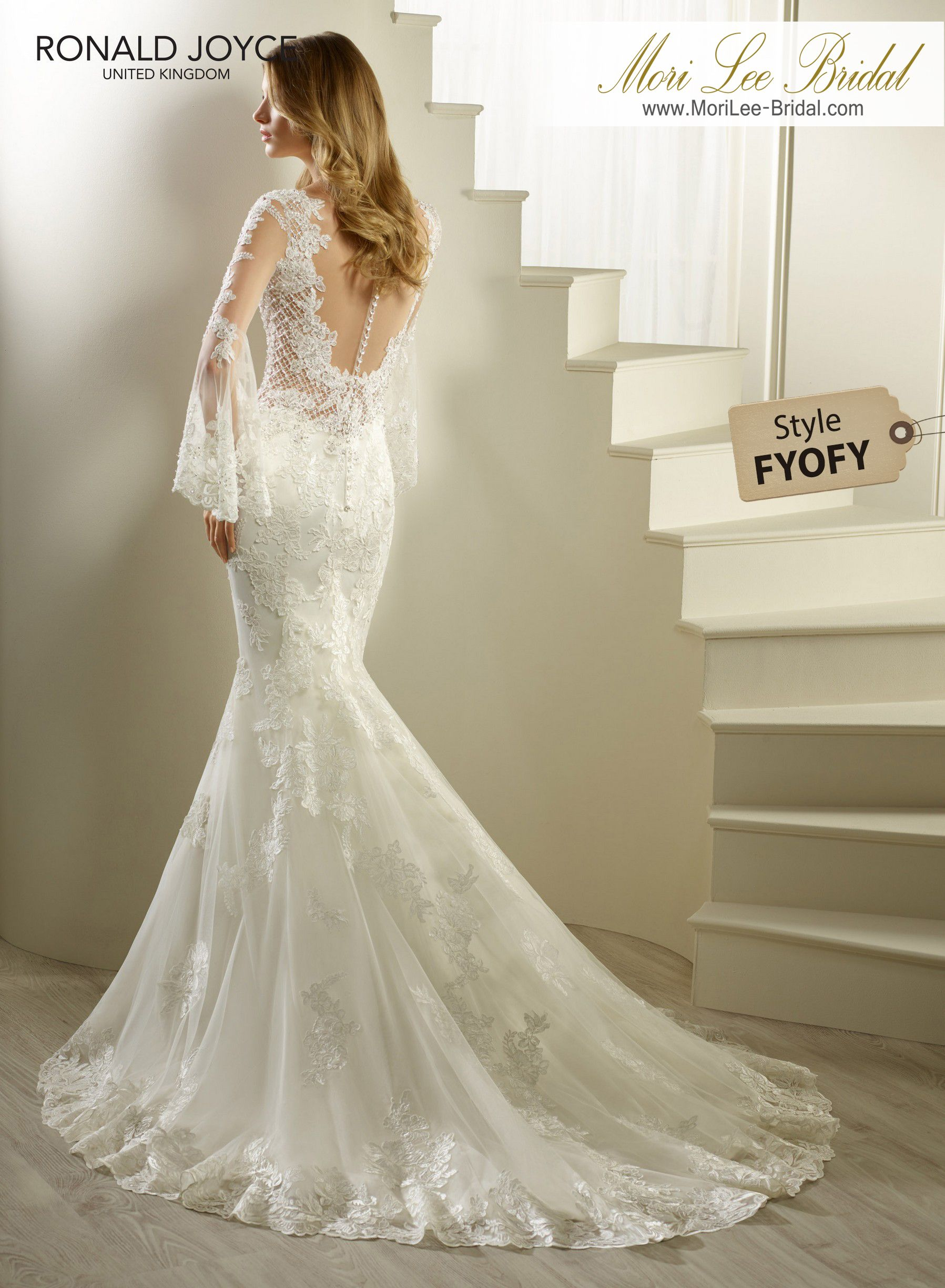 Style FYOFY HUDSON A SATIN AND ORGANZA FISHTAIL DRESS WITH LACE ...