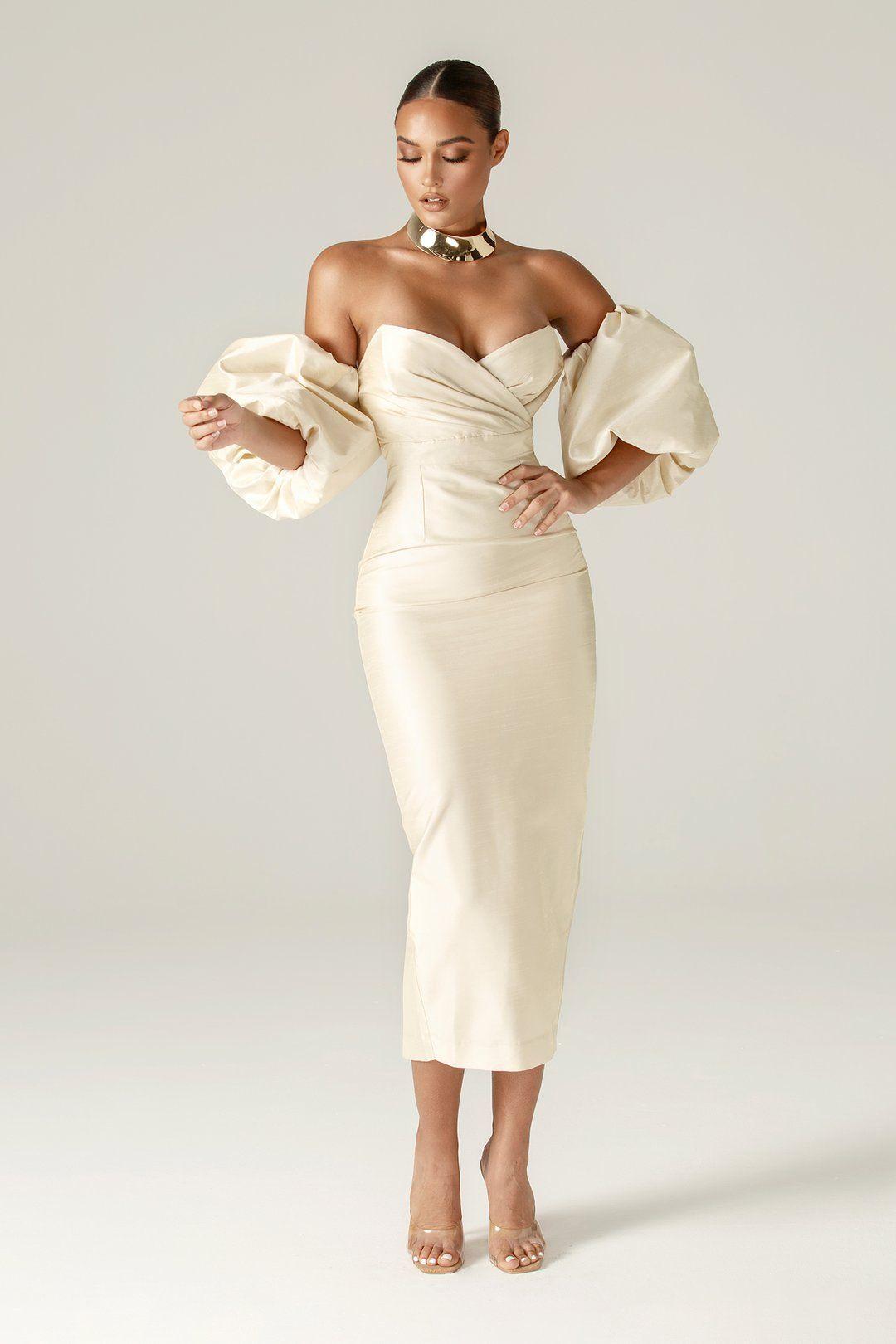 Tiffany Dupioni Puff Sleeve Maxi Dress (Beige)