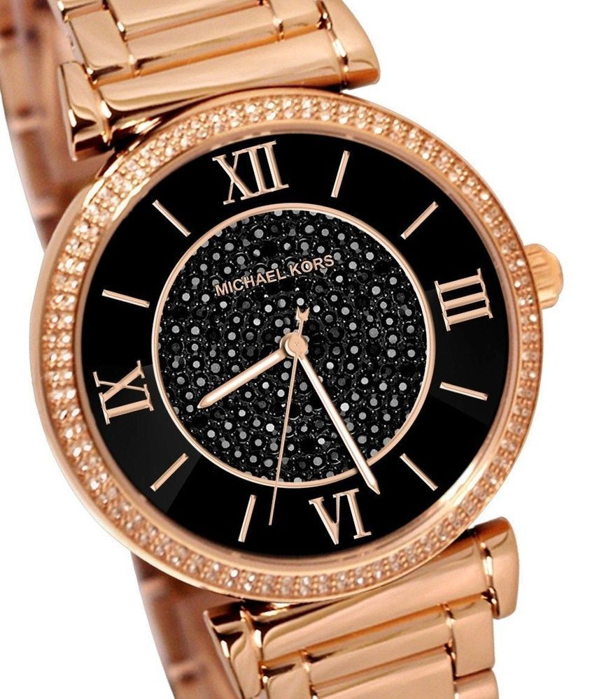 0fa6b56be616 MICHAEL KORS MK3356 SKYLAR Black Crystal Glitz Dial Rose Gold Tone Women s  Watch in Jewelry   Watches