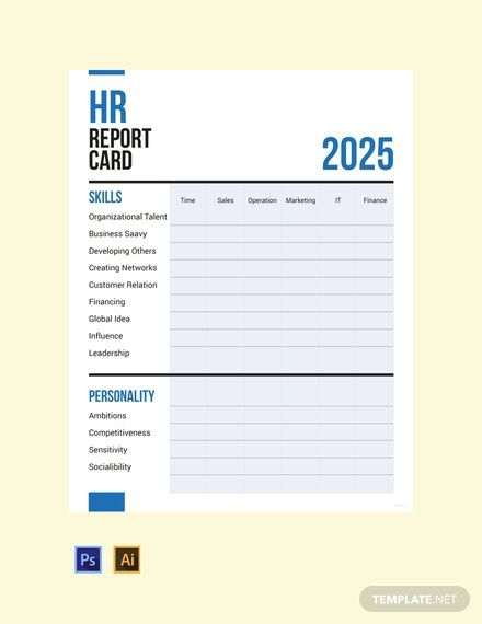 free hr report card template in 2020  report card