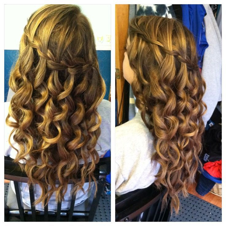 Waterfall braid with curls google search wedding hair waterfall braid with curls google search ccuart Images