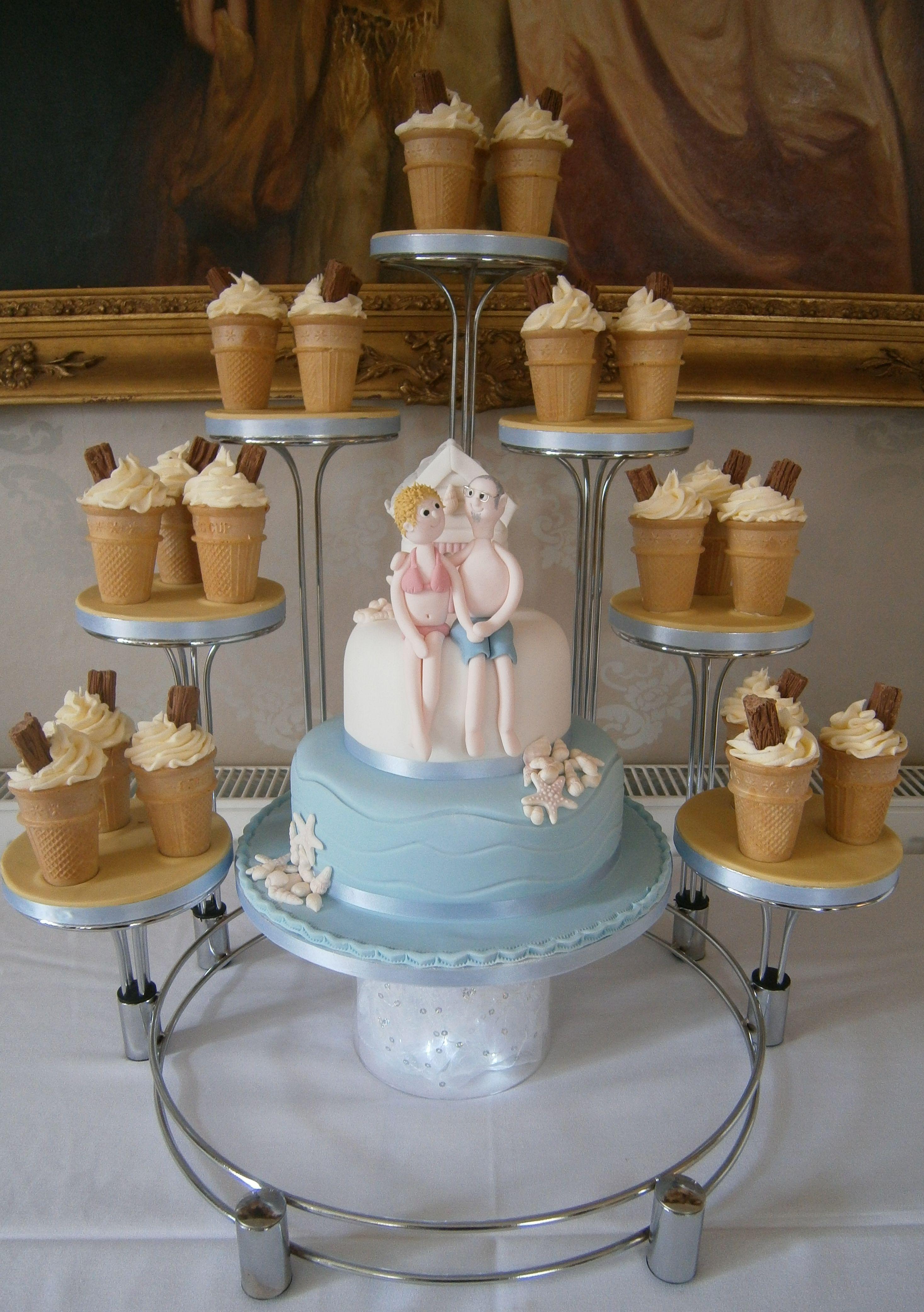 Seaside Theme Wedding Cake With Ice Cream Cup Cakes